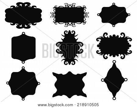 isolated black vintage frame set from white background
