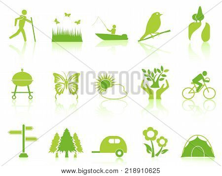 isolated green color garden icons set from white background