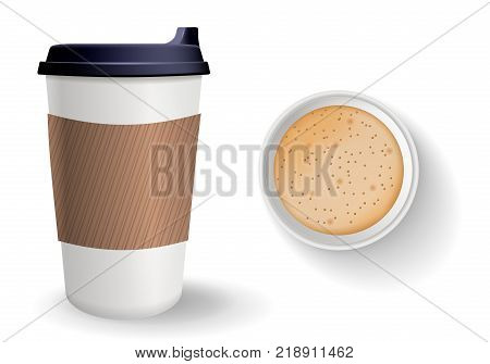 Top view of to go paper coffee cup. Realistic vector composition. Takeaway cup with lid and protective ripple sleeve isolated on the white background.