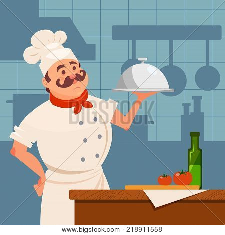 Professional restaurant cook standing near wooden table and holding silver dish in hand. Kitchen interior with furniture and utensils. Cartoon man character in chef uniform. Flat vector illustration.