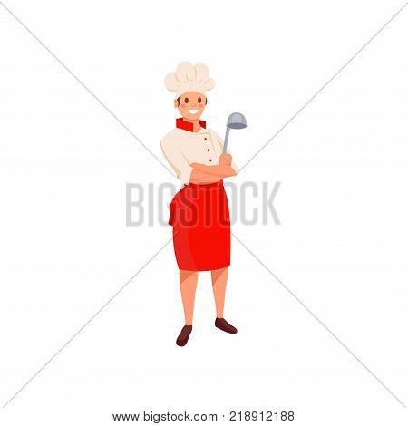 Professional restaurant chef in uniform with hat and red apron. Cartoon man character holding silver ladle in hand. Smiling cook in flat style. Colored vector illustration isolated on white background