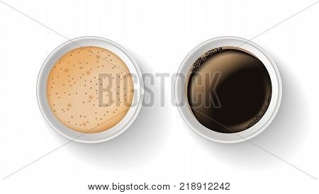 Top view of two takeaway paper coffee cups isolated on the white background.Realistic vector composition. Coffee without and with milk.