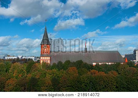 Cityscape of Kaliningrad Russia Europe. Gothic cathedral in Kaliningrad city formerly Koenigsberg Germany. Beautiful view of Kant Island. The center of city in autumn. Birds eye panorama