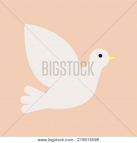Christian white dove. Symbol of Holy Spirit and peace. Graphic design element for church, christian organization or event. Icon in flat style. Vector illustration isolated on pink background.