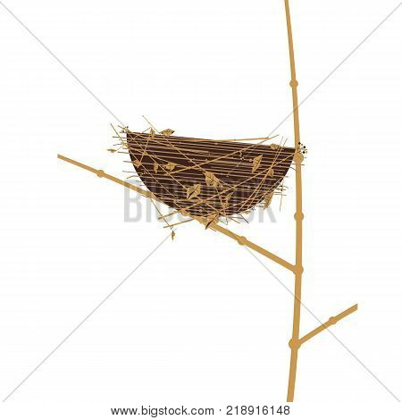 Bird nest icon. Cute Comic flat cartoon. Minimalism simplicity wildlife design. Birdhouse straw grass basket, tree branch. Birds home silhouette. Vector scavenging birdwatching card element background poster