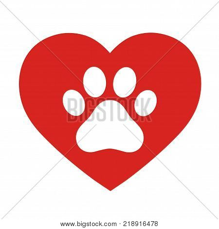 Pet paw love logo. Animal footprint with heart silhouette around.