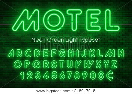 Neon light alphabet, realistic extra glowing font with brick wall background. Exclusive swatch color control.