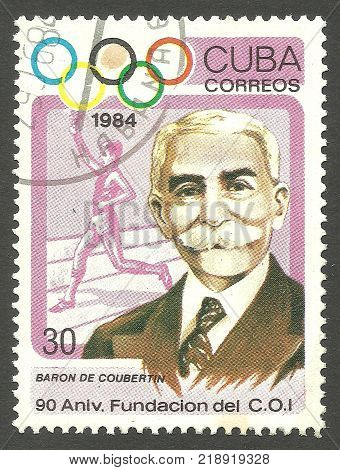 Cuba - stamp 1984 Memorable multicolor issue of offset printing Olympic Games Sport Series Summer Olympics Atlanta 90th Anniversary of IOC Pierre de Coubertin