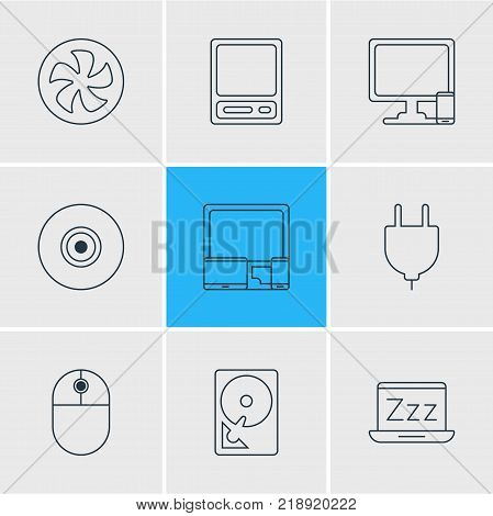 Vector illustration of 9 laptop icons line style. Editable set of sleep mode, devices, mouse and other elements.