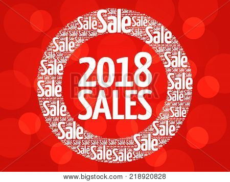 2018 SALES word cloud collage business concept background
