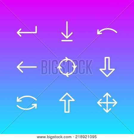 Vector illustration of 9 sign icons line style. Editable set of widen, download, circle and other elements.