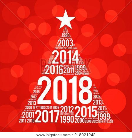 2018 Happy New Year and previous years word cloud greeting card in the shape of a christmas tree