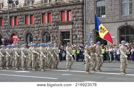 KIEV, UKRAINE - AUGUST 24, 2017: Military parade in Kyiv, dedicated to the Independence Day of Ukraine, 26th anniversary. Rows of marching military troops on Khreshchatyk street