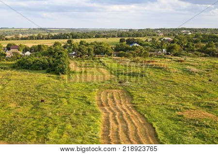 Beautiful summer rural landscape, view from the top