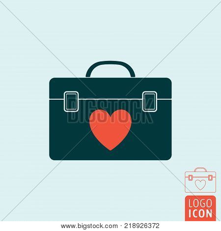 Human organ transplantation box icon. Transplant case symbol. Vector illustration.