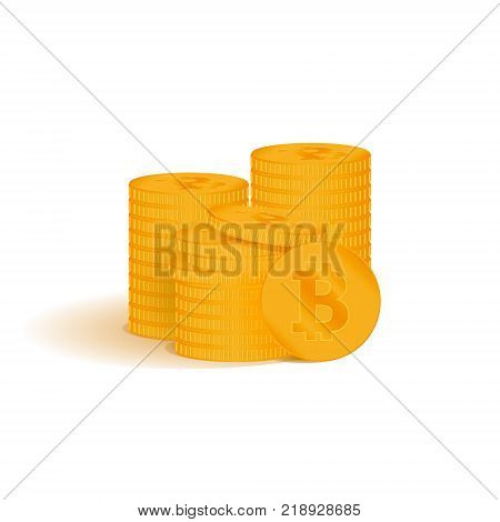 Golden bitcoin digital currency. A stack of coins bitcoin. Gold stack of bitcoins cryptocurrency coins.