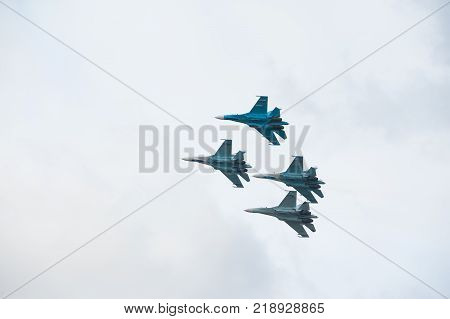 Nizhniy Tagil, Russia - September 25. 2013: Demonstration performances of flight group Falcons of Russia on Su-27. RAE-2013 exhibition. Russia Arms Expo-2013