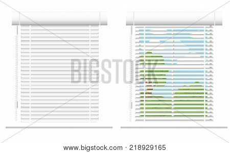 Detailed window set isolated vector illustration. Architectural details, window treatments, interior elements. Cartoon curtains, jalousie, drapery, blinds collection in flat style. Window icon set.