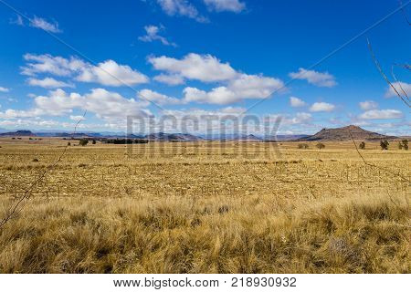 Orange Free State panorama on the road to Karoo South Africa. African landscape