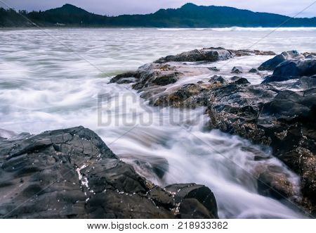 TOFINO, BC - MAY 29, 2017 - Slow water in rough seas on May 29th, 2017 in Tofino, on Vancouver Island.