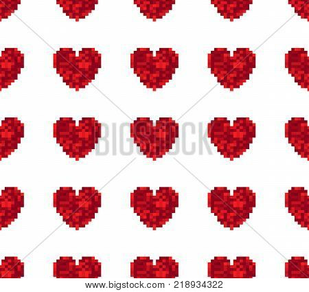 Seamless pattern of hearts on a white background. Retro style. Spriting. Old computer games.