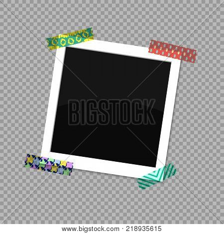 Square photo frame. The photo was stuck on a ridiculous scotch tape. Vector illustration EPS 10.