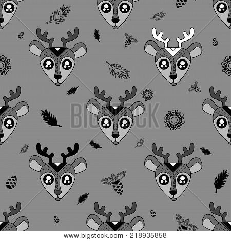 Cute Kids Deer Pattern For Girls And Boys. Colorful Deers On The Abstract Background Create A Fun Ca