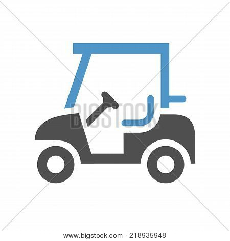 Golf cart - gray blue icon isolated on white background