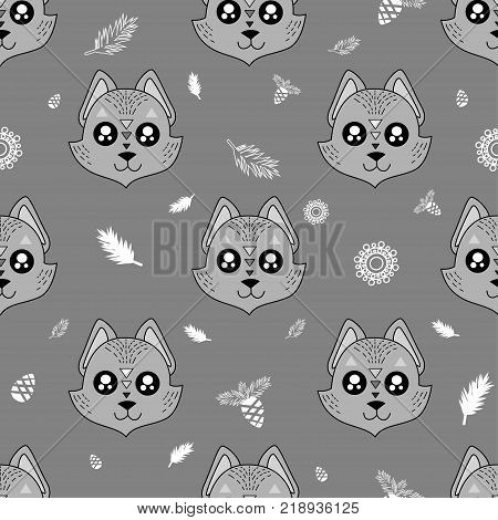 Cute Kids Fox Pattern For Girls And Boys. Colorful Fox On The Abstract Background Create A Fun Carto