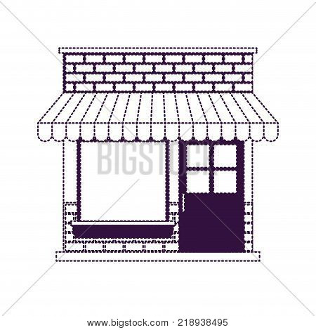 store facade with sunshade in purple dotted silhouette vector illustration