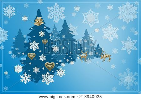 Christmas and New Year decorations: Christmassy fir-tree with snowflakes on blue backgroChristmas and New Year decorations: snowflakes and golden hearts on blue background, 3D illustration.und 3D illustration.