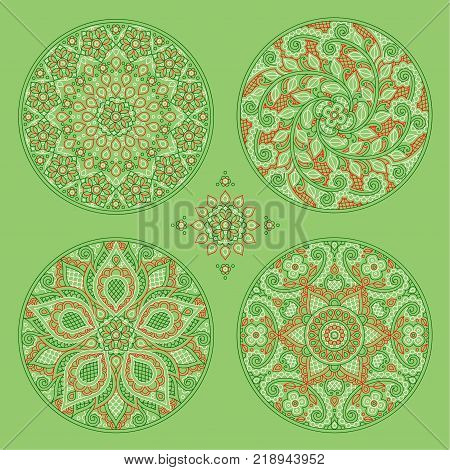 decorative ornaments in the form of circles on a green background