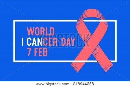 Poster and banner with text World Cancer Day February 4 and ribbon - world cancer day symbol. Banner for Febrauray 4, World Cancer Day awareness symbol. Classic graphic design. Vector Illustration