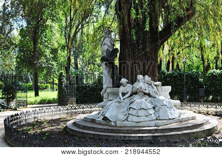Beautiful monument dedicated to poet Gustavo Adolfo Becquer located in the north of the Maria Luisa Park in Seville, Spain.