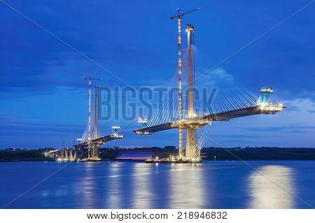 Forth Bridge Queensferry Crossing. New mordern Forth Bridge under construction. Edinburgh, Scotland, UK