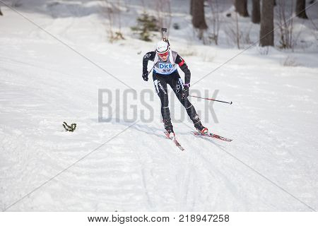 Nove Mesto nad Moravou, CZECH REPUBLIC - FEBRUARY 07, 2015: biathlete laying on the range during IBU WORLD CUP BIATLON, 2015, February 06, 2015 in Nove Mesto nad Moravou, Czech republic