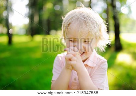 Portrait of cute little happy boy. Child laughing during stroll in summer sunny park. Dream come true or happy childhood concept poster