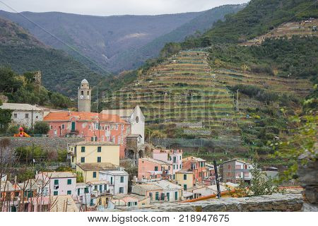 The town of Vernazza in the Cinque Terre on the Ligurian coast Italy.