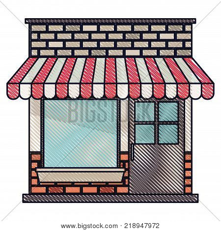 store facade with sunshade in colored crayon silhouette vector illustration