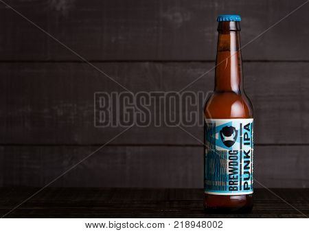 London, Uk - December 15, 2017: Bottle Of Punk Ipa Post Modern Classic, From The Brewdog Brewery On
