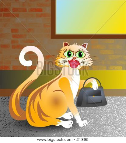 poster of posh alley cat with handbag.