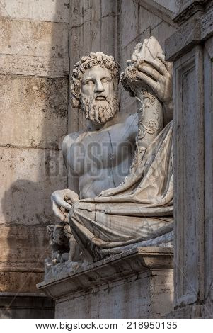 River Tiber God ancient roman marble statue in Capitoline Hill Square right in the center of Rome
