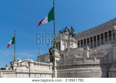 ROME, ITALY - JUNE 23, 2017: Amazing view of Altar of the Fatherland- Altare della Patria, known as the national Monument to Victor Emmanuel II in city of Rome, Italy