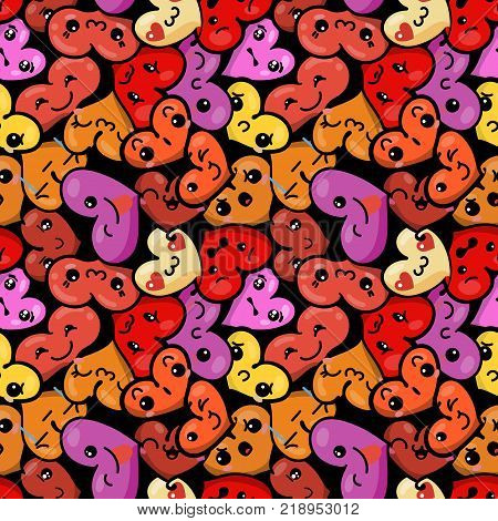Seamless heart background with emoji to the Saint Valentine's day. Vector pattern