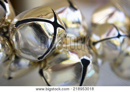 Gold Metal Shiny Close Up Jingle Bells