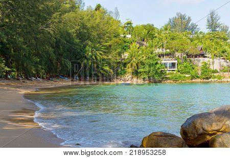 Small calm Hua beach on Phuket island, Thailand