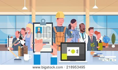 Hr Manager Hand Hold Cv Resume Of Construction Worker Over Group Of People Different Professions Choose Candidate For Vacancy Job Position, Recruitment Concept Flat Vector Illustration