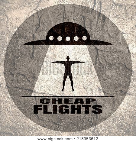 UFO abducts human. Space ship UFO ray of light in the night sky. Cheap flights text. Image relative to airplane traveling