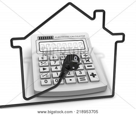 The calculation of the cost of electricity. Concept. The contour of the house from the power cord on a background of a electronic calculator. 3D Illustration