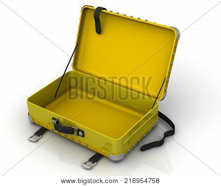 Open empty suitcase. Open yellow suitcase on a white surface. 3D Illustration